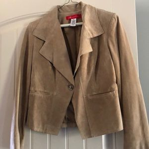 100% leather tan fashion blazer